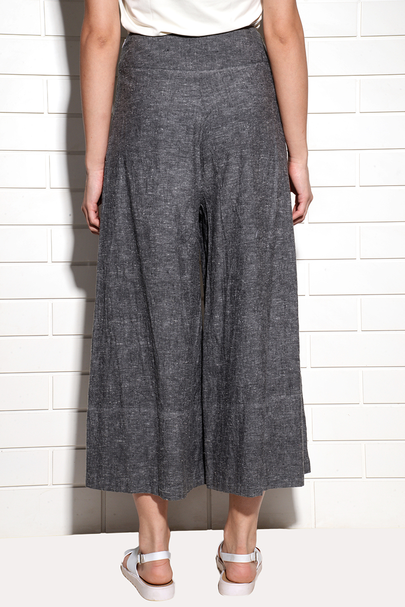 Caliph Wide Leg Cropped Pants Charcoal