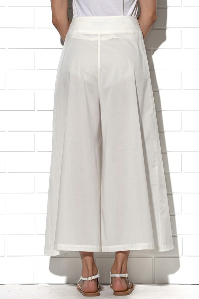 Milos wide leg summer pants in ivory