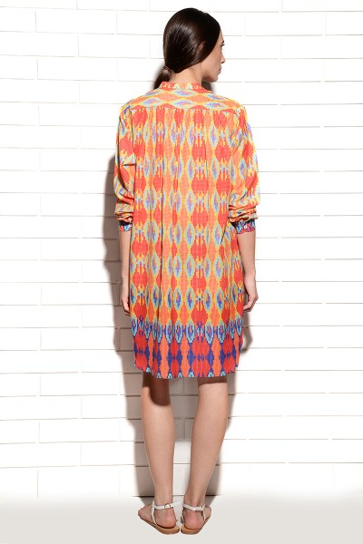 Coral ombre pleated tunic