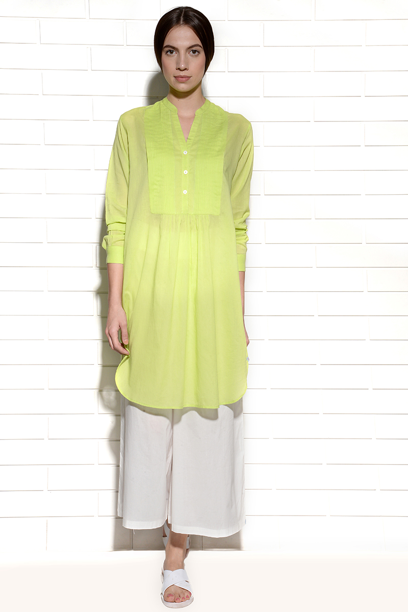 Juicy Lime Citron Tunic Dress with pleats at yoke
