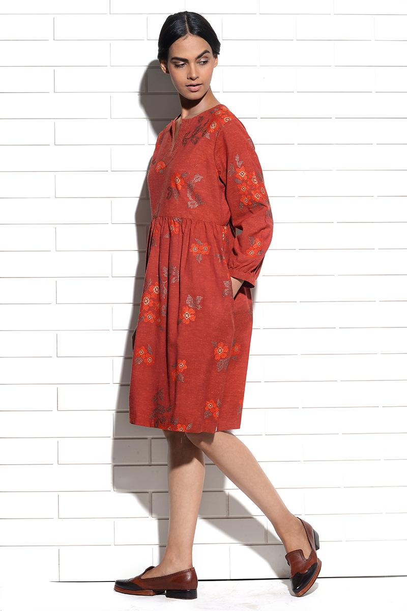 Burnt orange Celosia Dress with cross stitch embroidery