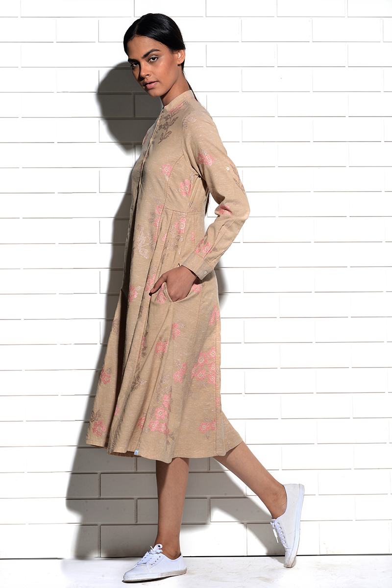Beige Magnolia Tunic Dress with cross stitch embroidery