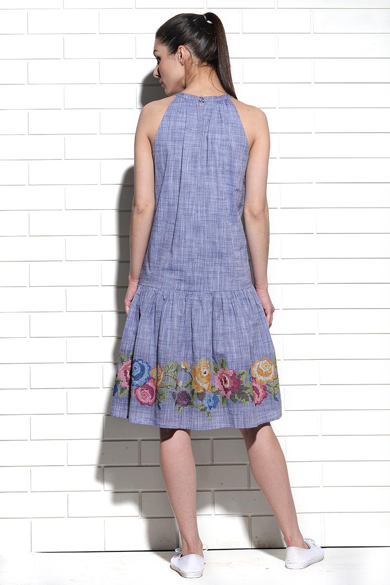 Bayamo low waist dress with rose cross stitch embroidery