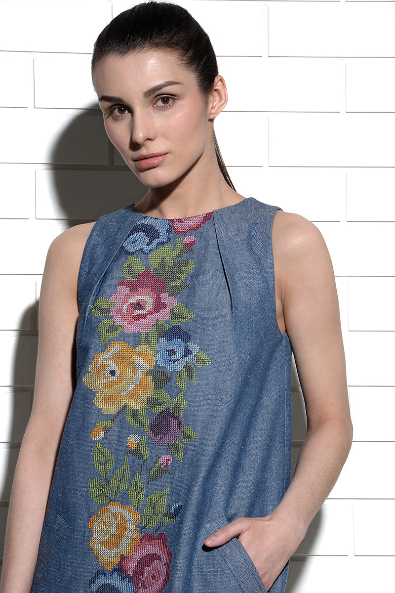 Shamal A-line dress with rose embroidery at centre front