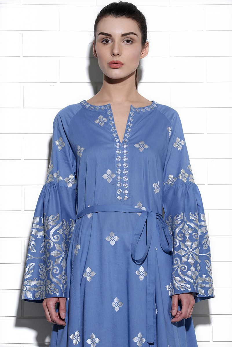 Sirocco belted kurta with geometric embroidery