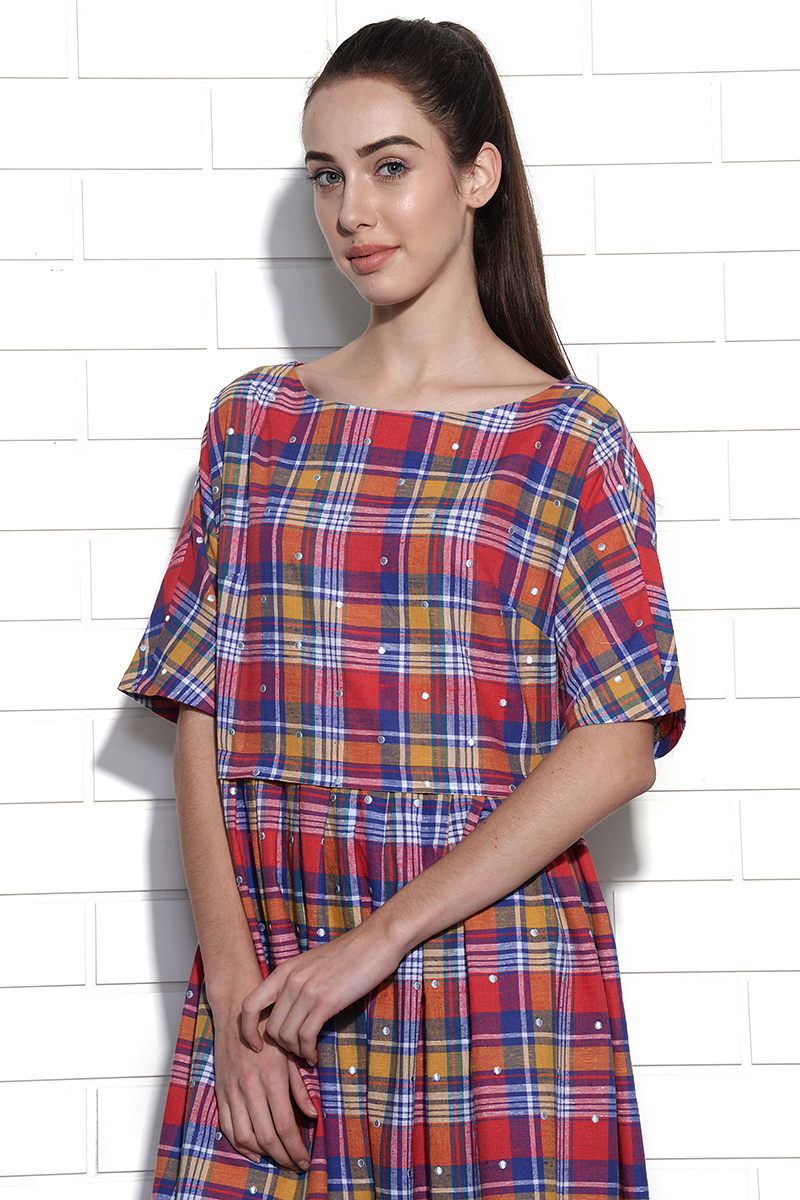 Girona checkered dress with polka dot embroidery