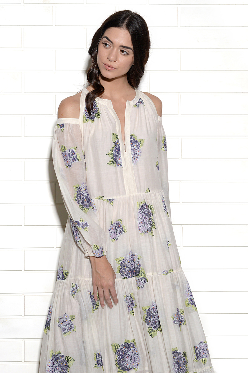 Diaphanous cold shoulder embroidered hydrangea dress in mauve