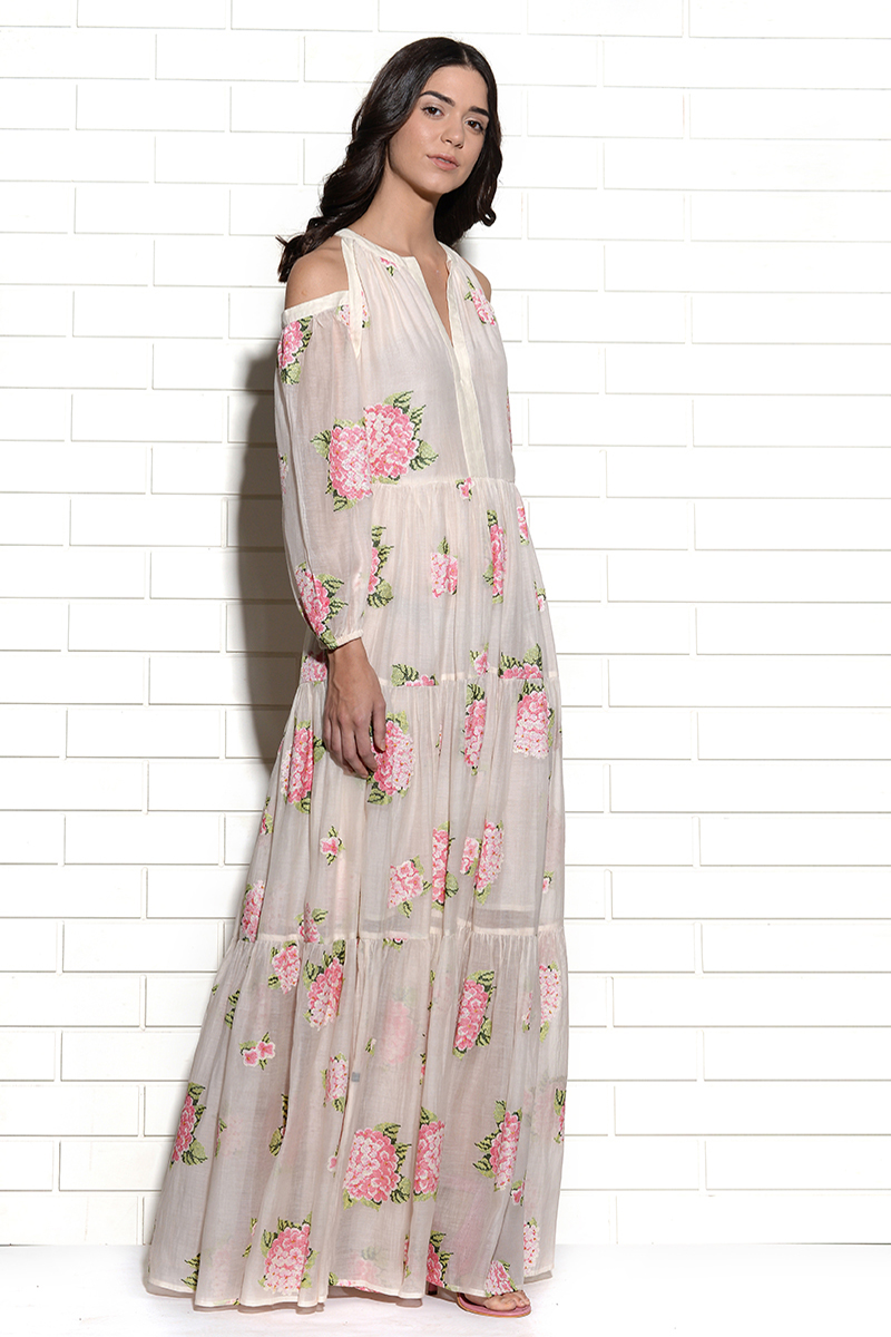 Diaphanous cold shoulder embroidered hydrangea dress in pink