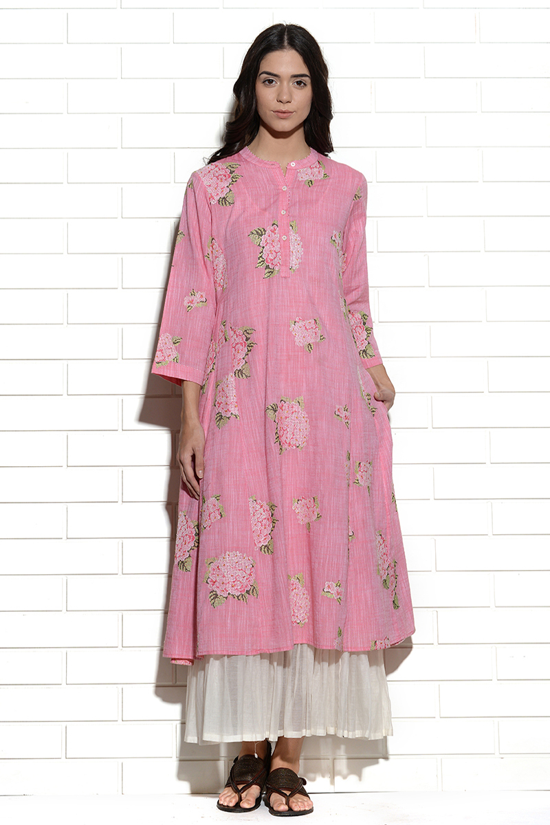 Cyclamen pink hydrangea embroidered dress