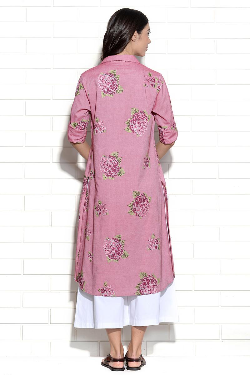 Bubblegum pink embroidered hydrangea dress