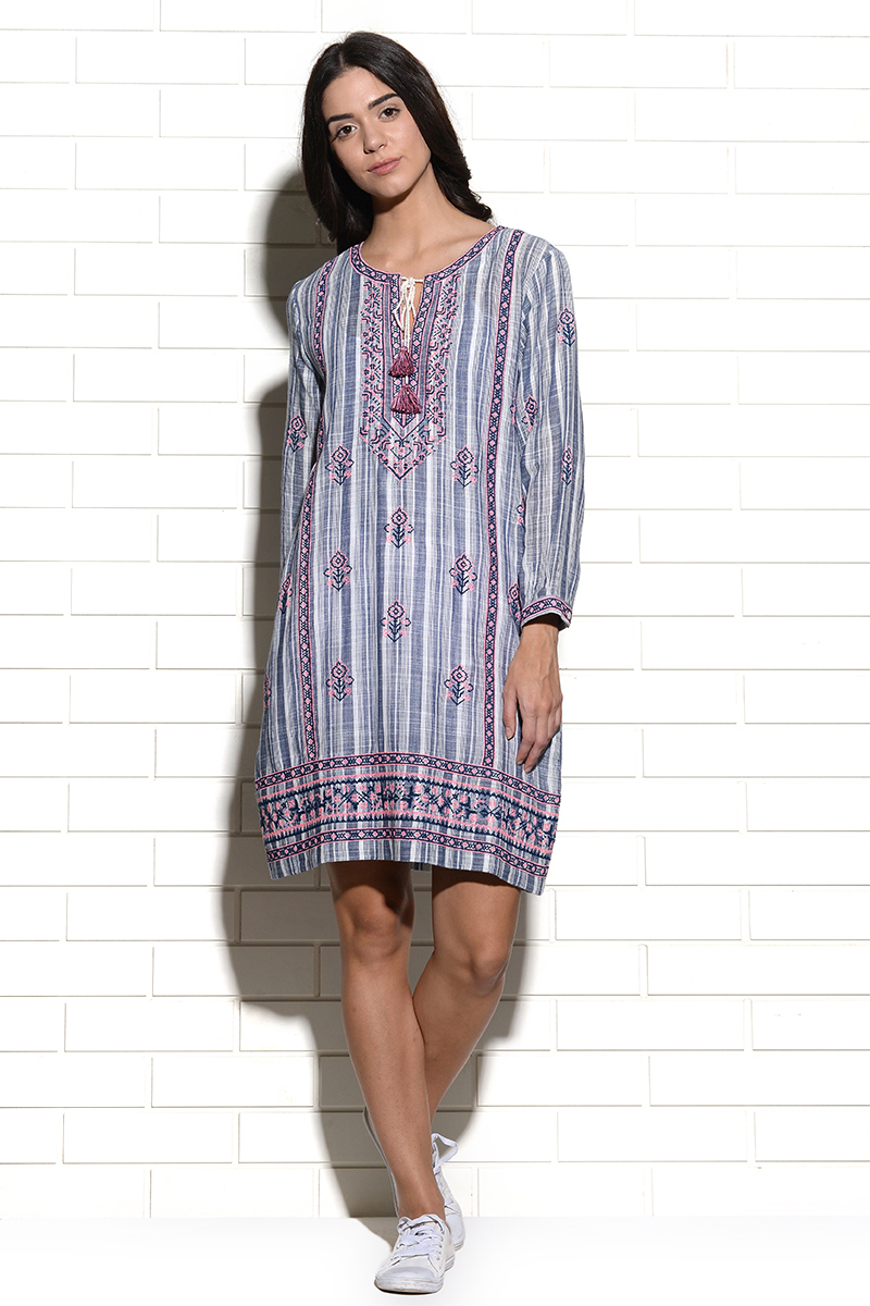Embroidered Rijeka straight tunic dress