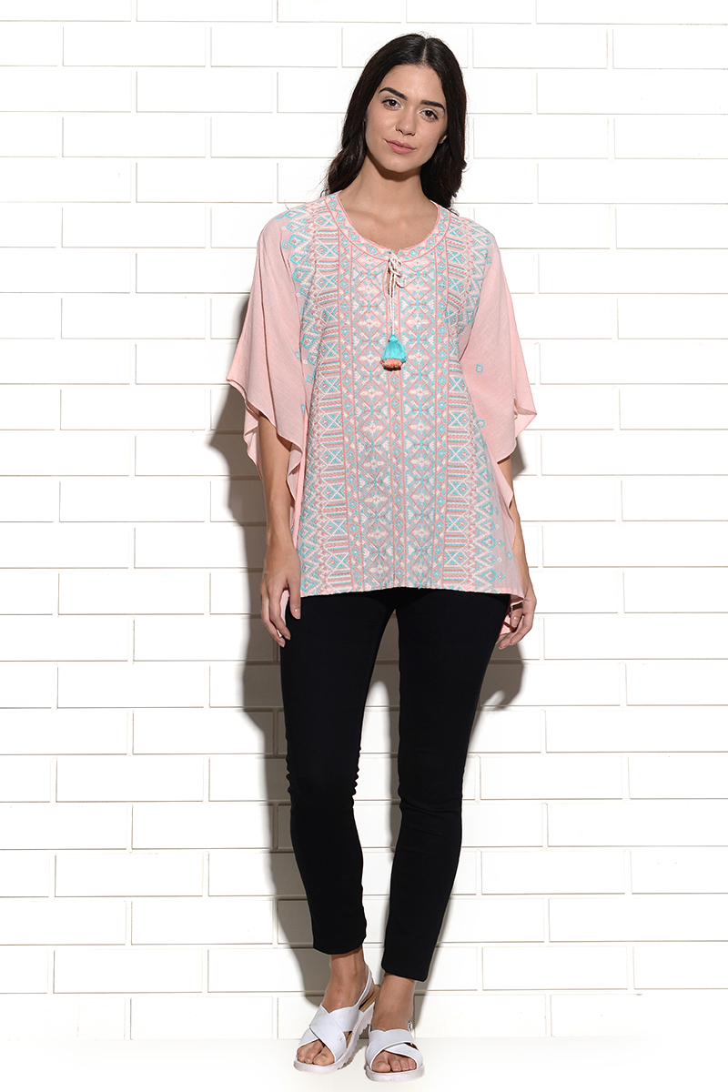 Embroidered Omis kaftan style top