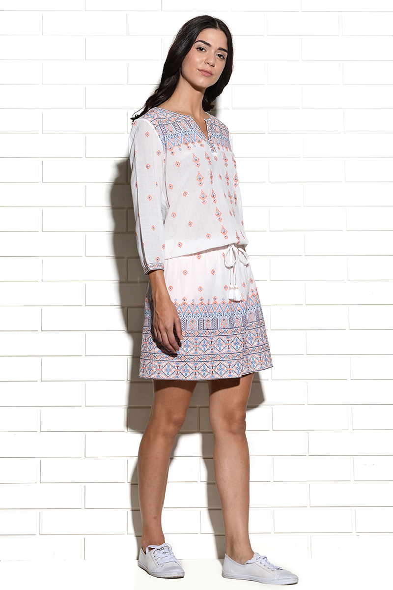 Dubrovnik embroidered dress with placement embroidery