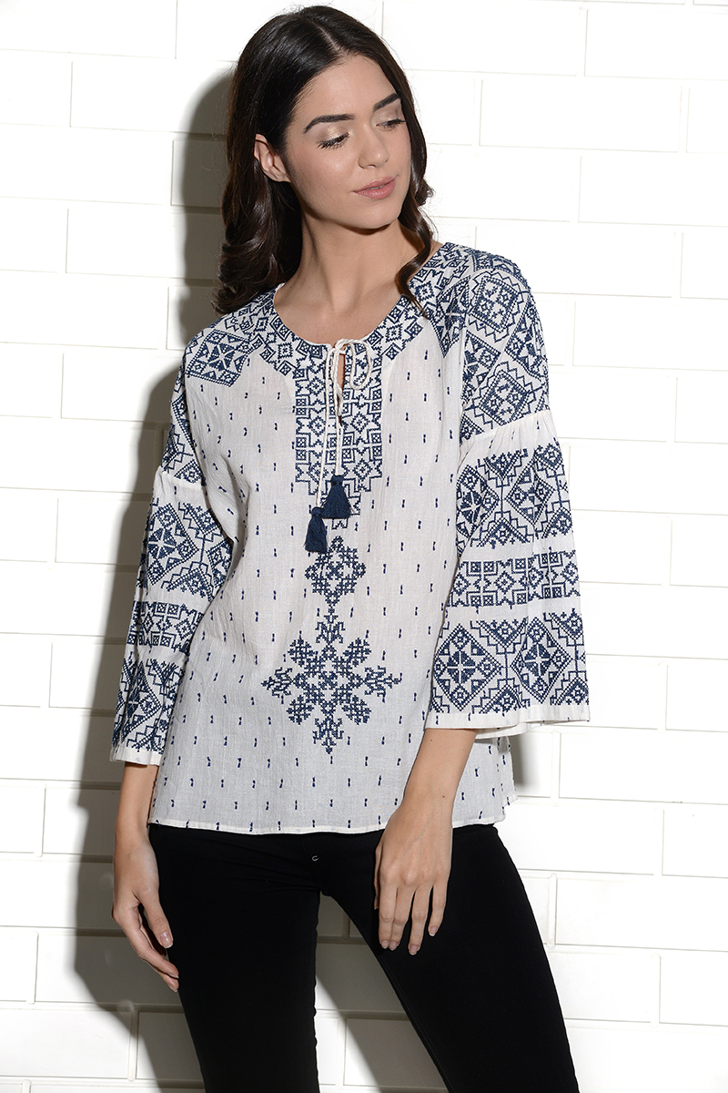 Tribe cross stitch embroidered peasant top