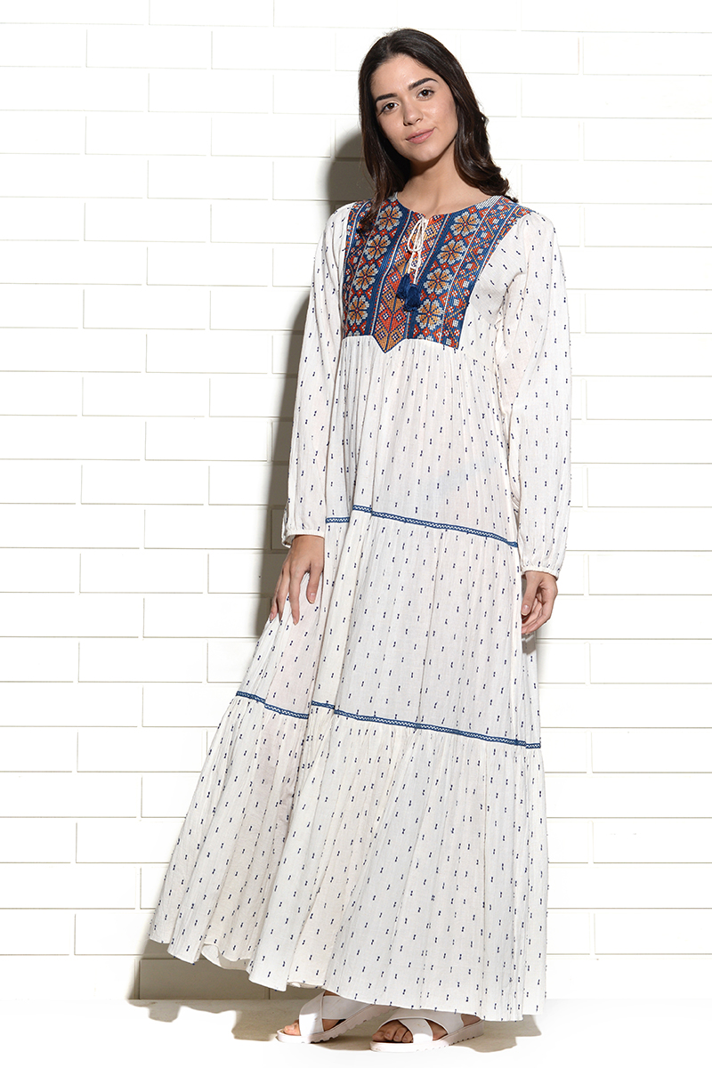 Kaladungar thread embroidery maxi Dress