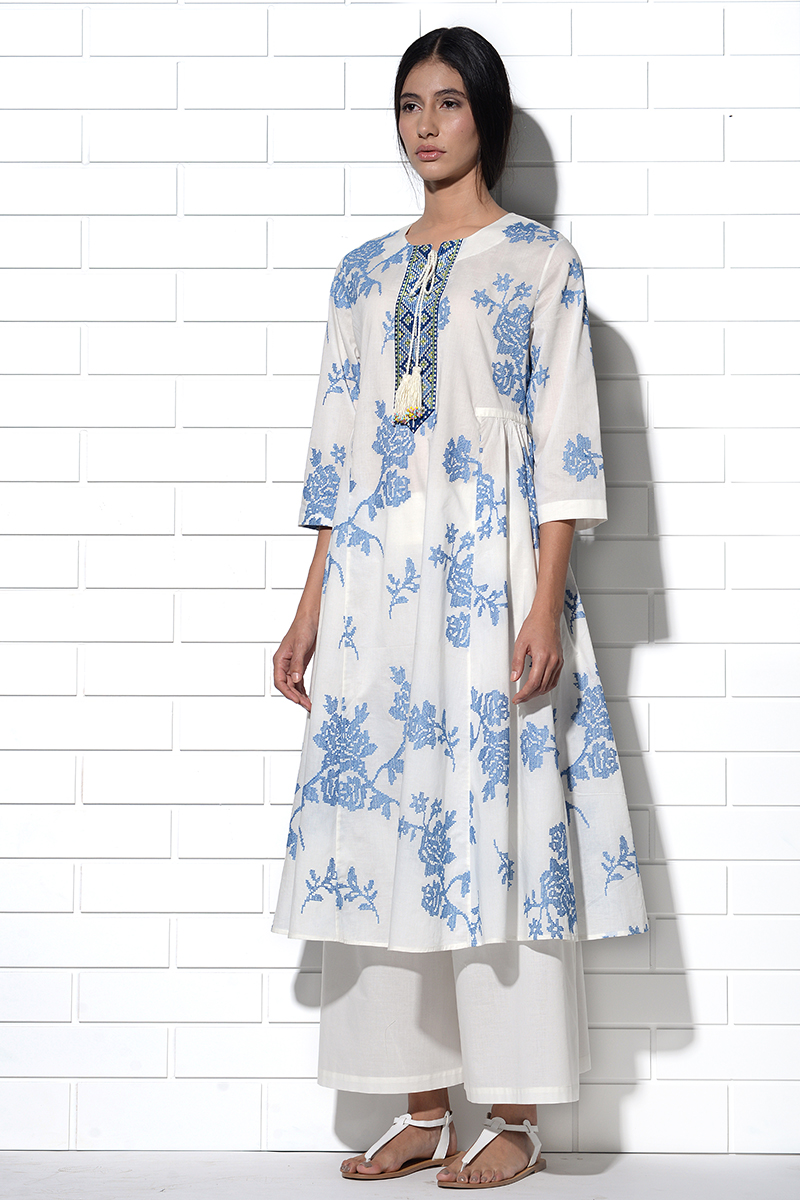 Ibiza Tunic in ivory with blue rose embroidery