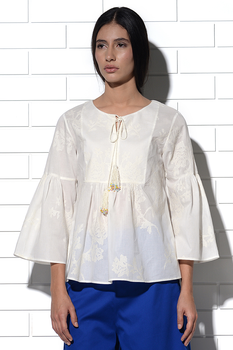 Corsica ivory gathered pheasant blouse