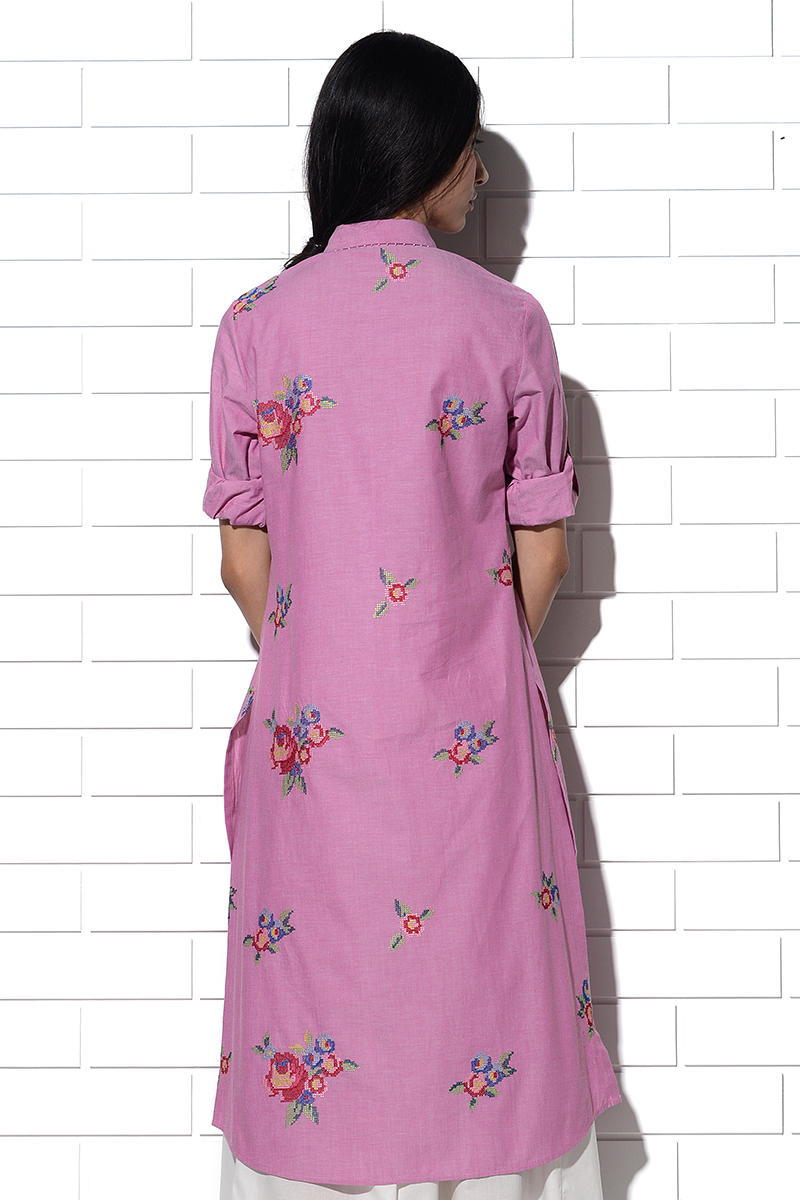 Sicily Tunic in pink with multi-rose embroidery