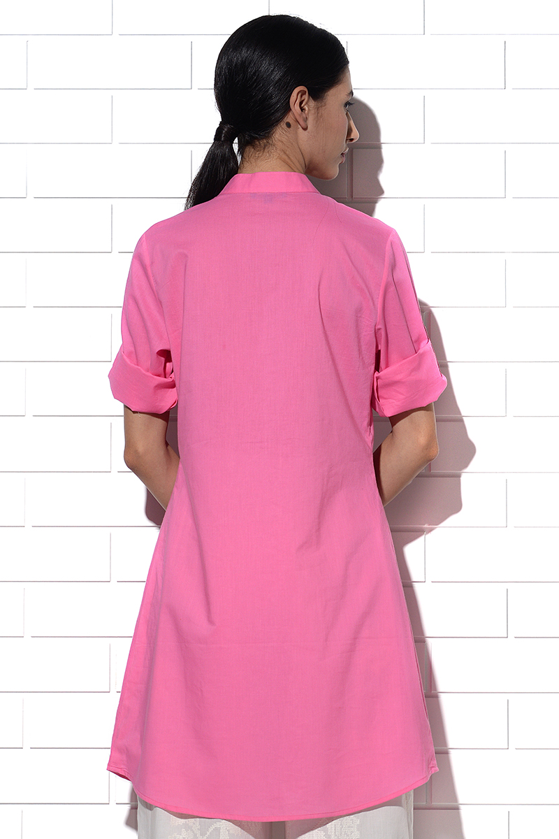Angistri box pleat tunic in pink