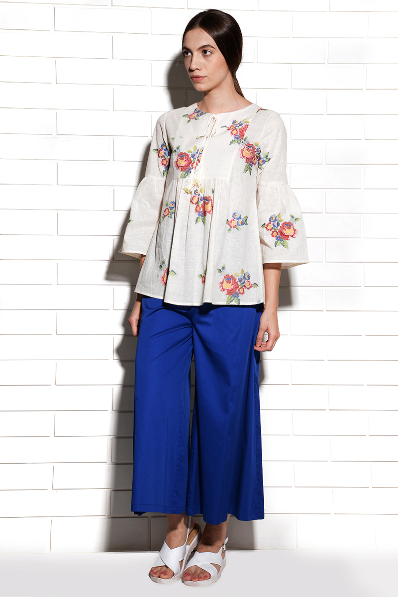 Corsica multirose pheasant blouse