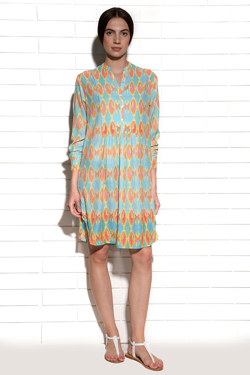 Aqua ombre pleated tunic
