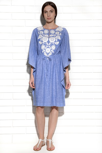 Papagayo Embroidered and Belted Kaftan Dress