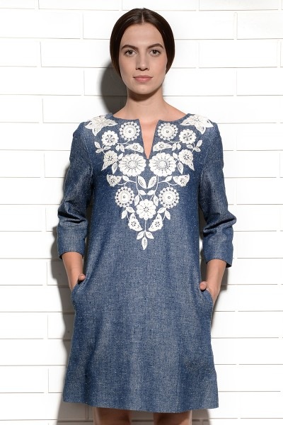 Panama Embroidered Tunic Shift Dress