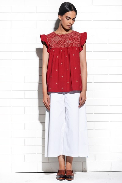 Muqarna Embroidered Top With Ruffled Sleeves