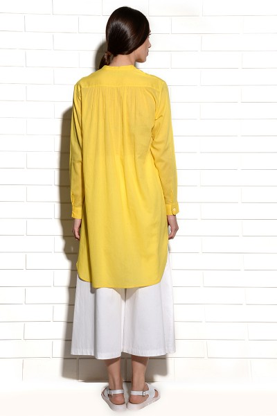 Juicy Lemon Citron Tunic Dress with pleats at yoke