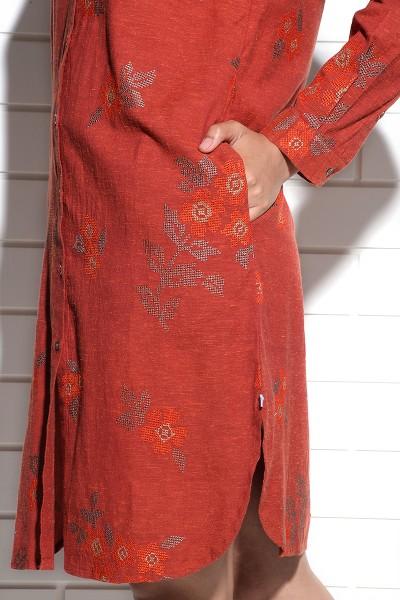 Burnt orange Iris Shirt Dress with cross stitch embroidery