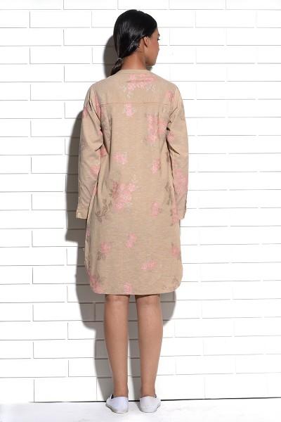 Beige Iris Shirt Dress with cross stitch embroidery