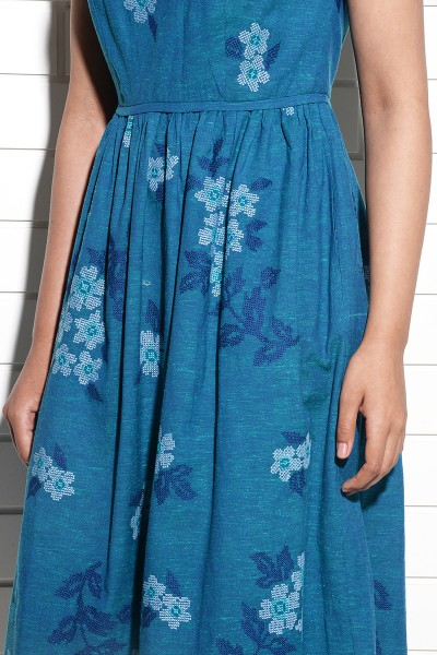 Teal Periwinkle Dress with cross stitch embroidery