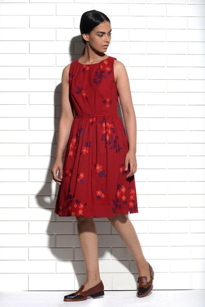 Bordeaux Periwinkle Dress with cross stitch embroidery