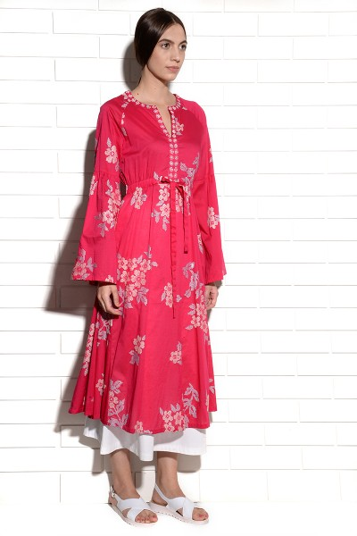 Dianthus pink tunic with cross stitch embroidery