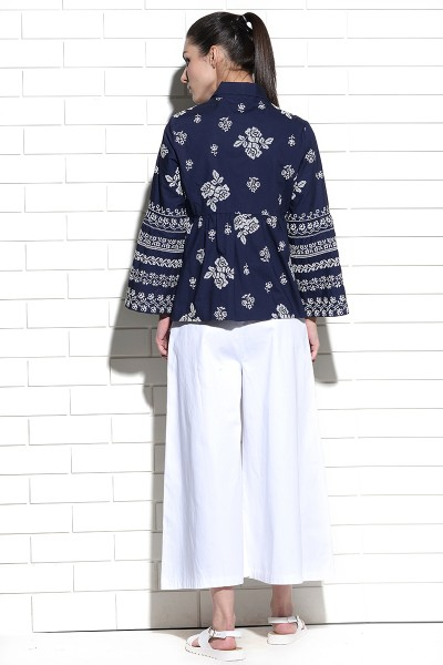 Tulip sleeve collared shirt with cross stitch embroidery