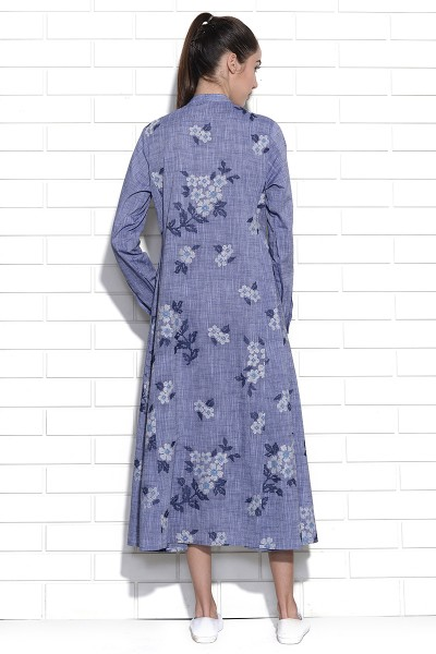 Blue Mist floral embroidery tunic dress