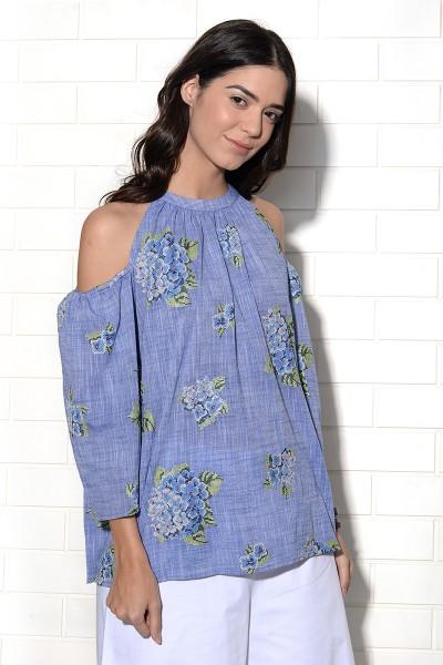 Cornflower blue hydrangea embroidered top