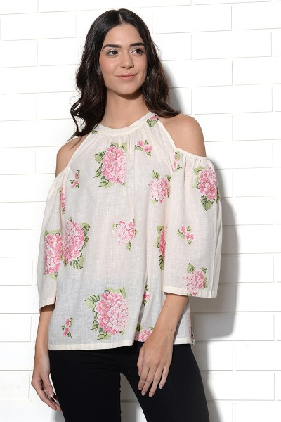 Vanilla strawberry hydrangea embroidered top