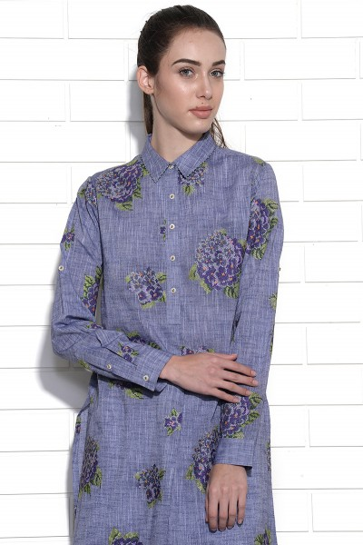 Lapiz blue embroidered hydrangea dress