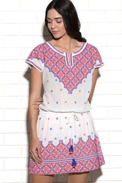 Kornati embroidered dress with placement embroidery