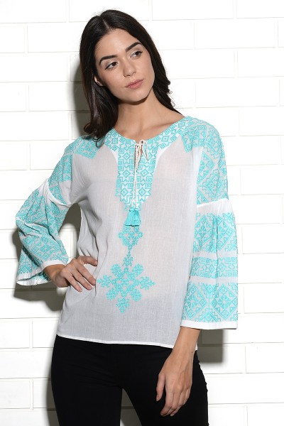 Peasant style Tribe top with placement embroidery
