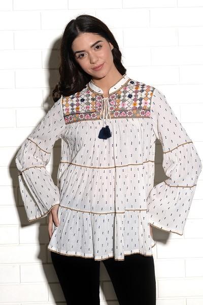 Mandvi embroidered mirrorwork peasant top