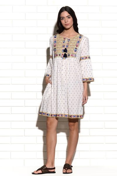 Mutava mirrorwork embroidered peasant Dress