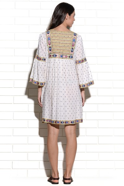 Mutava mirrorwork embroidered peasant Dress