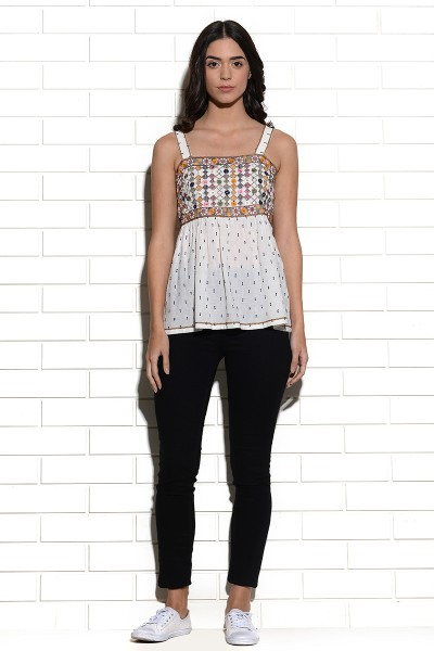 Mundra mirrorwork embroidered sleeveless top