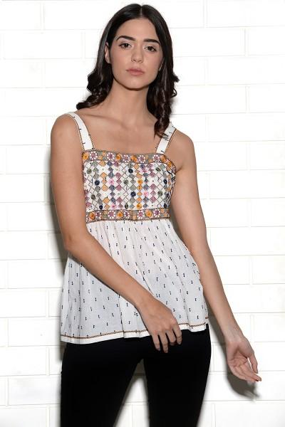 Mundra mirrorwork embroidered sleeveless top