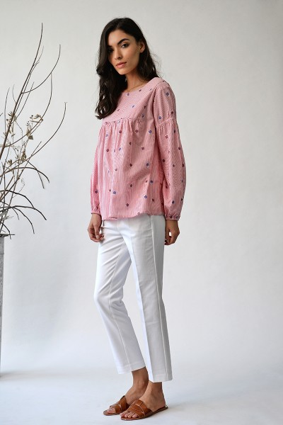 Floribunda rose peasant top