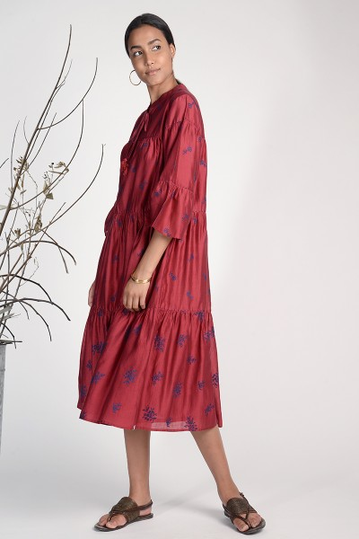 Twister Embroidered Tiered Dress