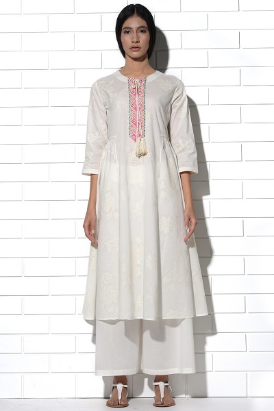 Ibiza Tunic in ivory with tonal rose embroidery