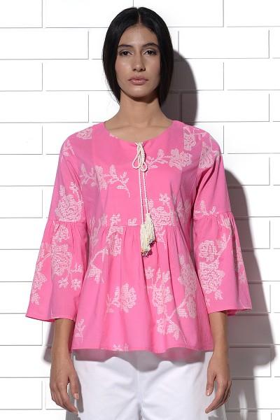 Corsica pink gathered pheasant blouse
